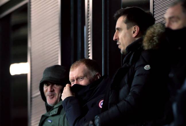 Neville and co-owner Paul Scholes watch their team. Image: PA Images