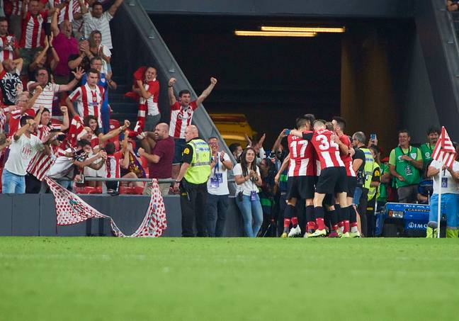 Atleti celebrate their late winner against Barcelona. Image: PA Images