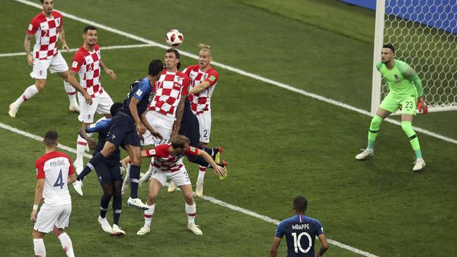 Mandzukic puts France ahead in the World Cup final. Image: PA Images