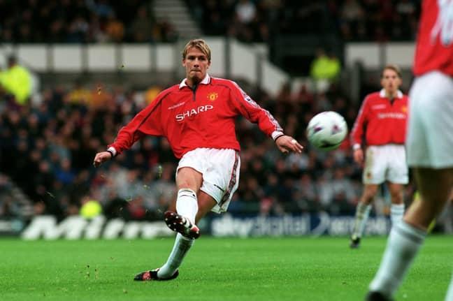 Beckham on free kick duty for United. Image: PA Images