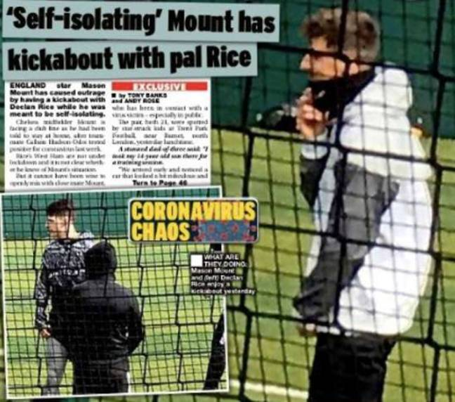 Back page of the Daily Star which shows Mason Mount and Declan Rice.