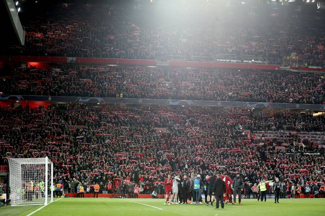 Liverpool fans and players celebrate the win over Barcelona. Image: PA Images