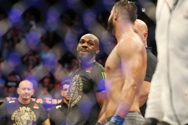 Jones gives Reyes a knowing look after their controversial fight. Image: PA Images
