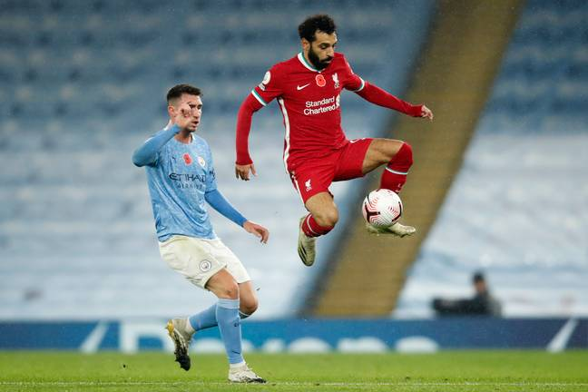 Laporte defending against Salah at the weekend. Image: PA Images