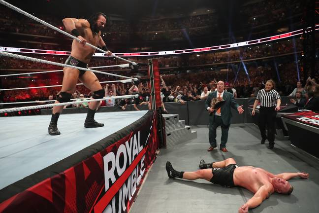 McIntyre eliminated Lesnar from this year's Royal Rumble match. (Image Credit: WWE)