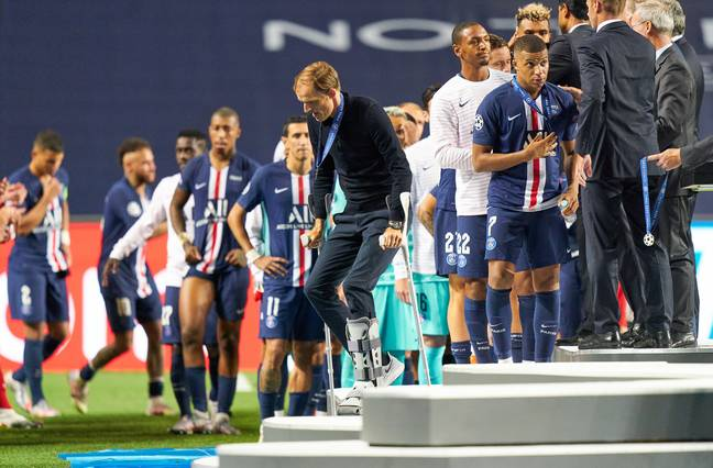 Tuchel leaves the stage after getting his Champions League runners up medal. Image: PA Images