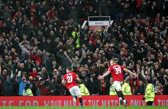 McTominay and the fans celebrate the last moment at Old Trafford in a year. Image: PA Images