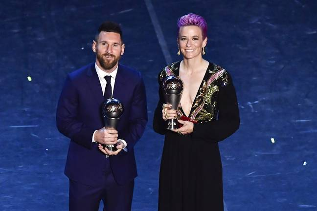 Rapinoe pictured with Lionel Messi after being awarded Women's Best Player of the Year. Image: PA Images