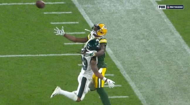 Avonte Maddox seemed to have his hand on Marquez Valdes-Scantling's facemask