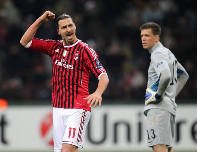 Ibrahimovic celebrates scoring a goal for AC Milan. Image: PA