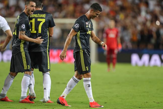 Ronaldo after receiving his marching orders. Image: PA Images