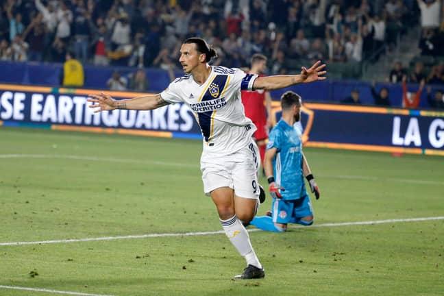Zlatan celebrates scoring against Toronto. Image: PA Images