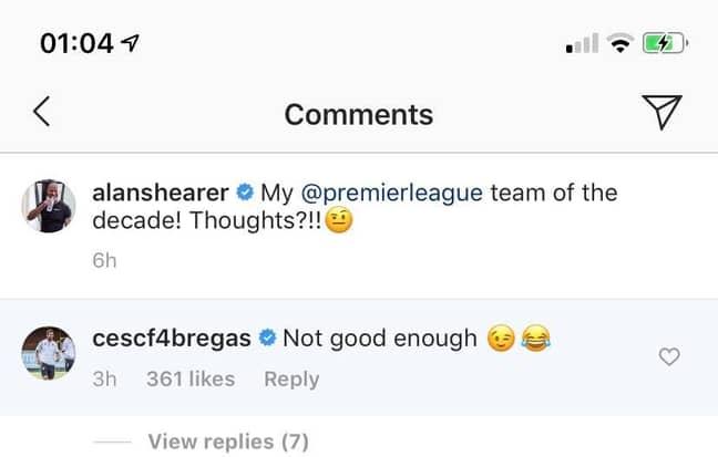 Fabregas' reply to Shearer. Image: Instagram
