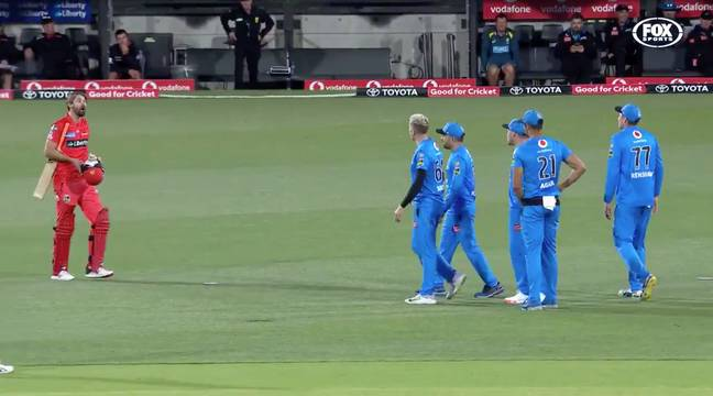 The two players had a fair bit to say to each other. Credit: Fox Sports Australia