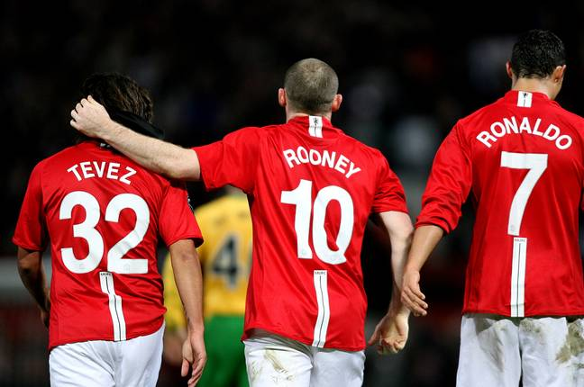 Tevez, Rooney and Ronaldo were quite the force together. Image: PA Images