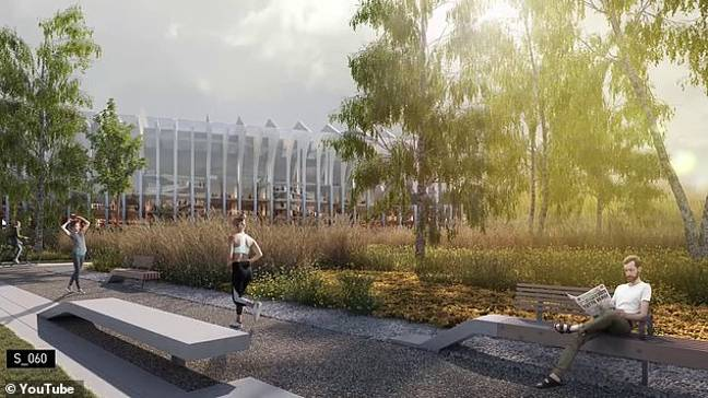 The new stadium from the outside. Image: YouTube