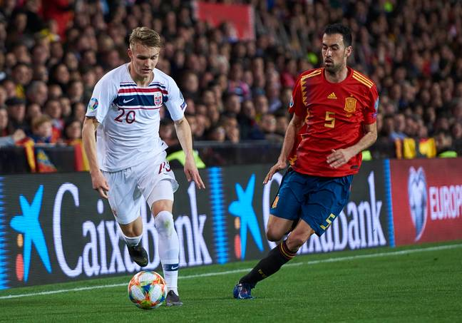 Odegaard playing for Norway against Spain in March. Image: PA Images
