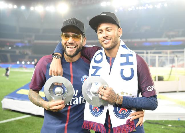Dani Alves after winning Ligue 1 with PSG. Image: PA Images