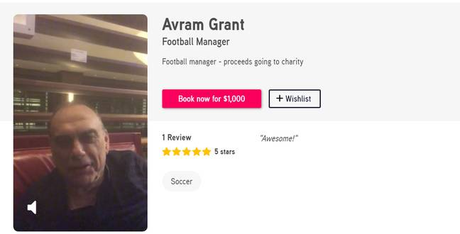 Avram Grant charges £1000 for personalised messages. Image: Cameo