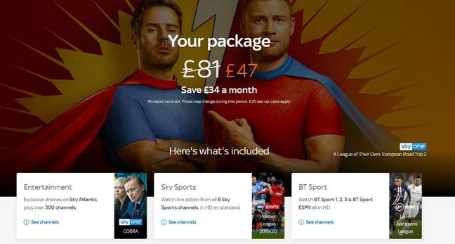 One of the deals for Sky Sports, BT Sport and Sky Entertainment. Credit: Sky