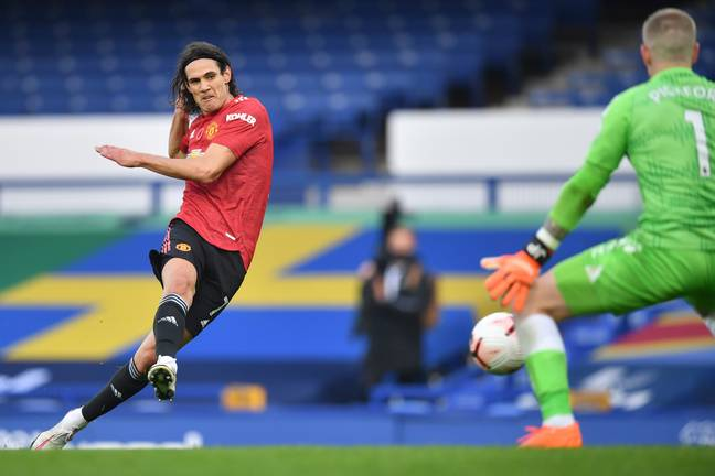Cavani slots home against Everton. Image: PA Images