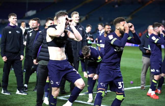 Derby County players mock 'Spygate' after winning in the play-offs. Image: PA Images