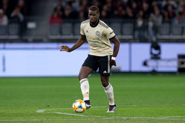 Pogba playing against Perth. Image: PA Images
