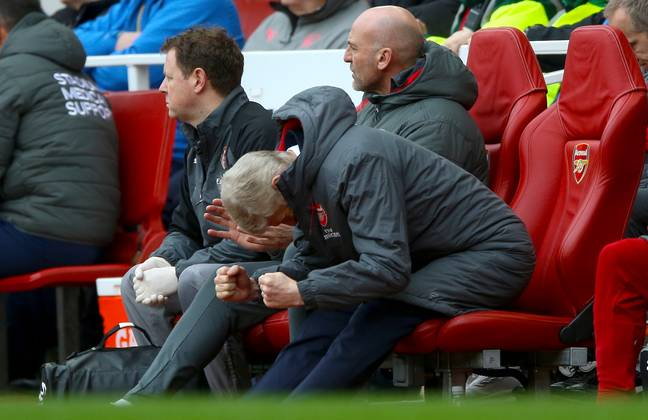 Wenger actually gets a chance to celebrate for once. Image: PA Images