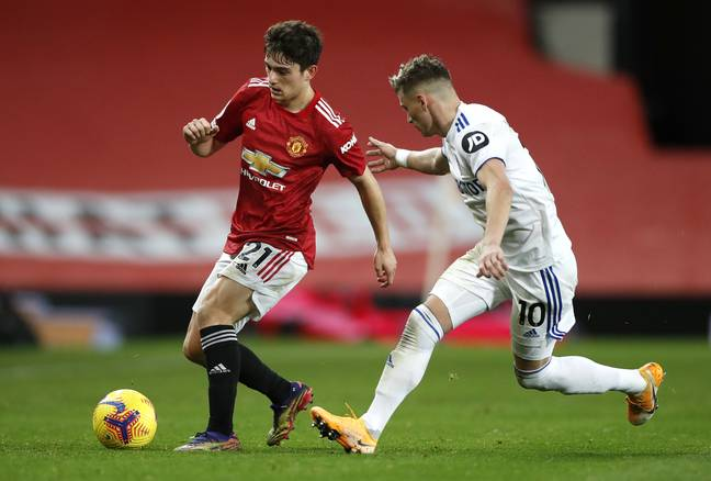 Dan James in action against Leeds United. (Image Credit: PA)