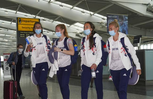 Members of the Team GB Women's Football Team depart London for the Tokyo (Credit: PA)