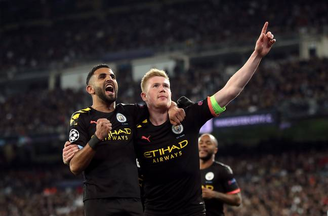 Riyad Mahrez and Kevin de Bruyne celebrate in the Champions League. Image: PA Images