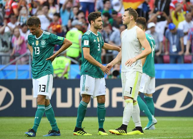 Germany players distraught after being knocked out of the World Cup by South Korea. Image: PA Images