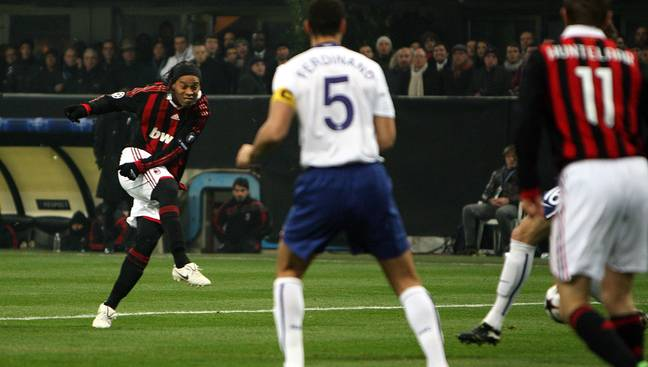 Ronaldinho playing against United for Milan in 2010. Image: PA Images