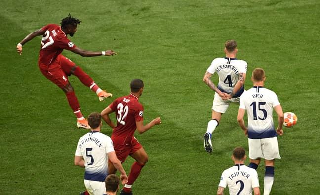 Origi scoring in the Champions League final, a goal that broke Spurs. Image: PA Images