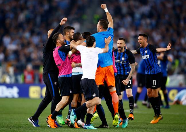 Inter celebrate their late winner. Image: PA Images