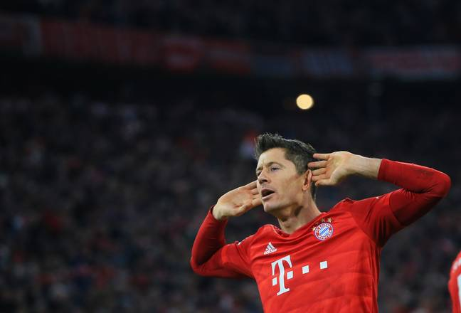 Former Dortmund striker Lewandowski celebrates his second goal. Image: PA Images