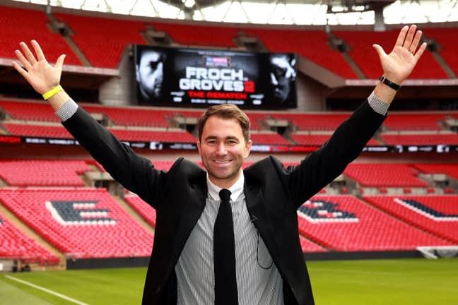 Eddie Hearn at Wembley Stadium. Credit: PA