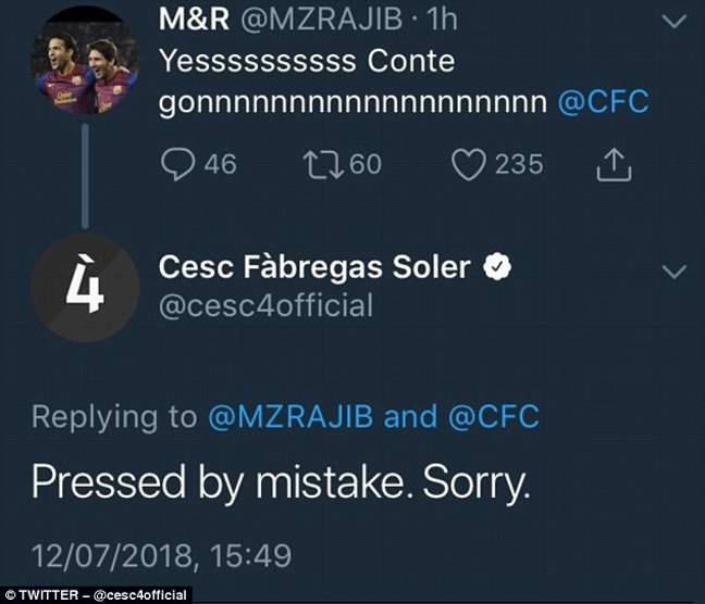 Fabregas' now deleted apology. Image: PA Images