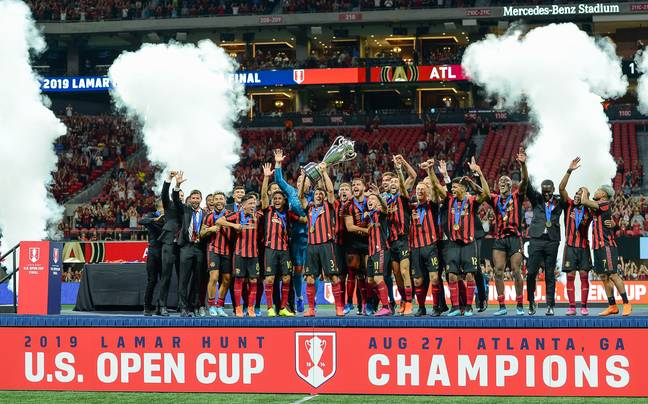 Atlanta United celebrate winning the US Open Cup last year. Image: PA Images