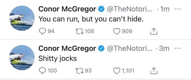 McGregor's deleted posts. Image: Twitter