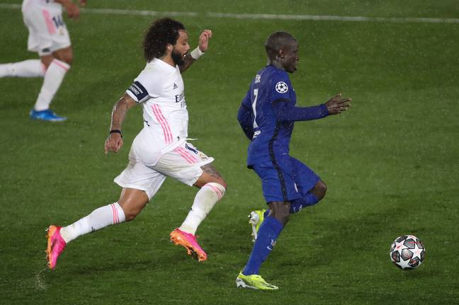 Marcelo takes on N'Golo Kante at the Estadio Alfredo Di Stefano. Image: PA Images