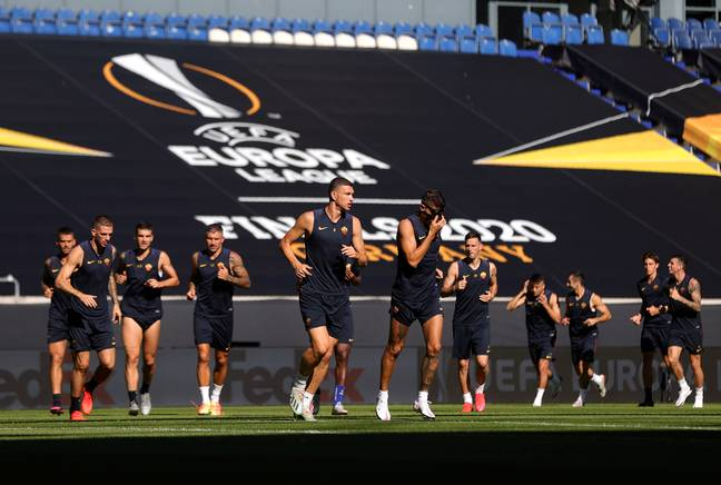 Roma players train ahead of their game against Sevilla. Image: PA Images