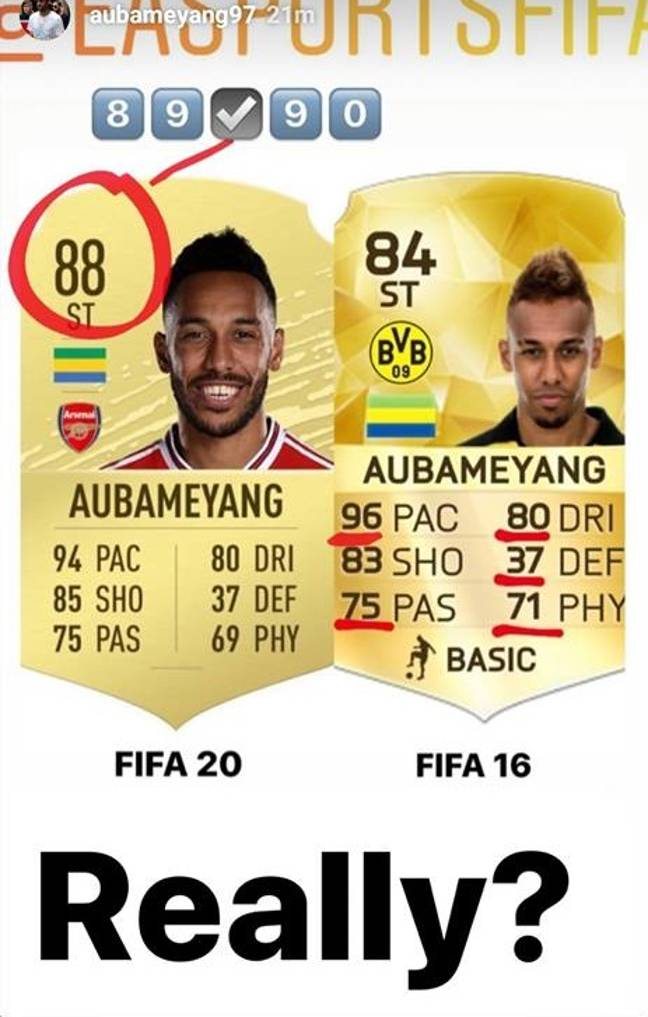 Aubameyang has lost a yard of pace according to FIFA 20. Image: Instagram