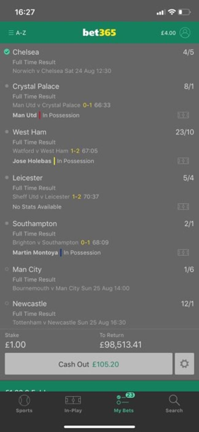 Here's the full rundown a while before the cash-out. Credit: LADbible