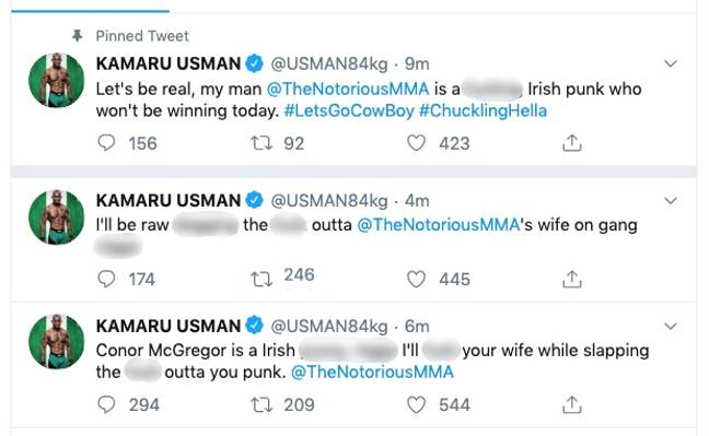 The tweets made by Usman's account.