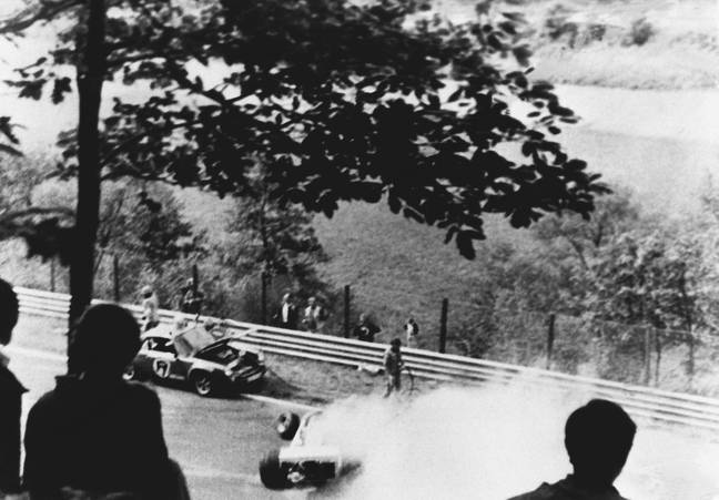 Lauda's crash in 1976. Credit: PA