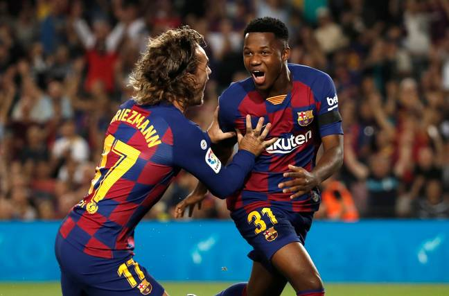 Ansu Fati scored two minutes into his Barcelona full debut on Saturday night
