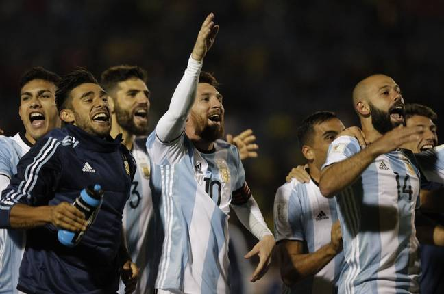 Argentina celebrate winning qualification. Image: PA