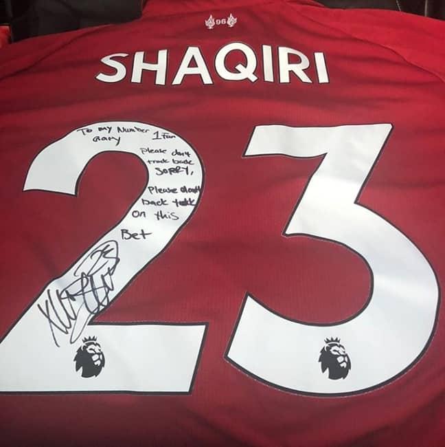 Xherdan Shaqiri's signed shirt. Image: Instagram