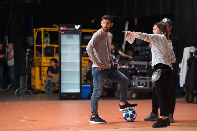 Messi on set of the new Pepsi ad.